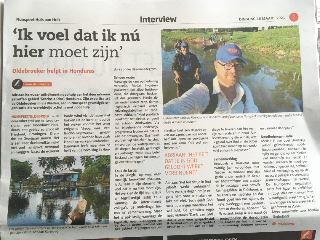 artikel Medair in de lokale krant